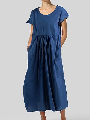 Round Neck Patch Pocket Plain Maxi Dress