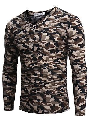 V-Neck Men Camouflage T-Shirt