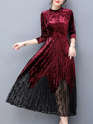 Band Collar Patchwork Hollow Out Velvet Pleated Maxi Dress