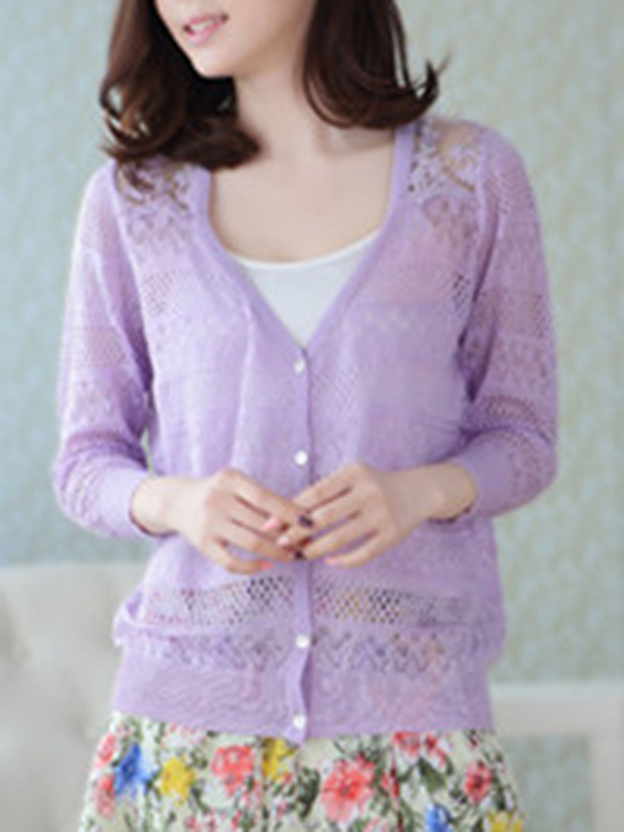 See Through Single Breasted  Plain Knit Cardigans
