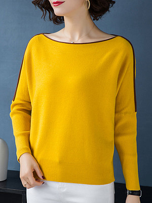 Round  Neck  Patchwork  Elegant  Batwing Sleeve  Long Sleeve  Knit  Pullover