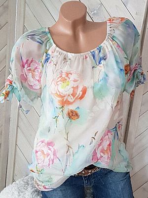Round Neck Floral Printed Blouses, 7161035