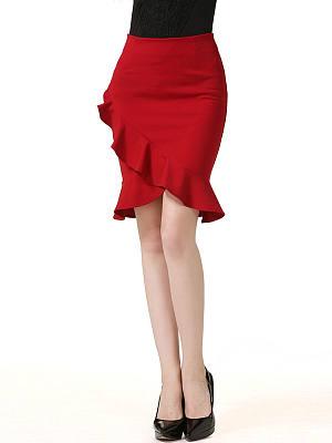Attractive Flounce Hem Plain Midi Skirt, 3511138