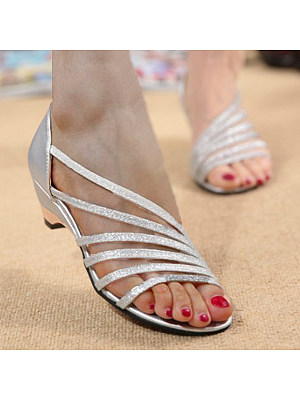 Berrylook coupon: Plain  Chunky  Low Heeled  Peep Toe  Casual Date Sandals