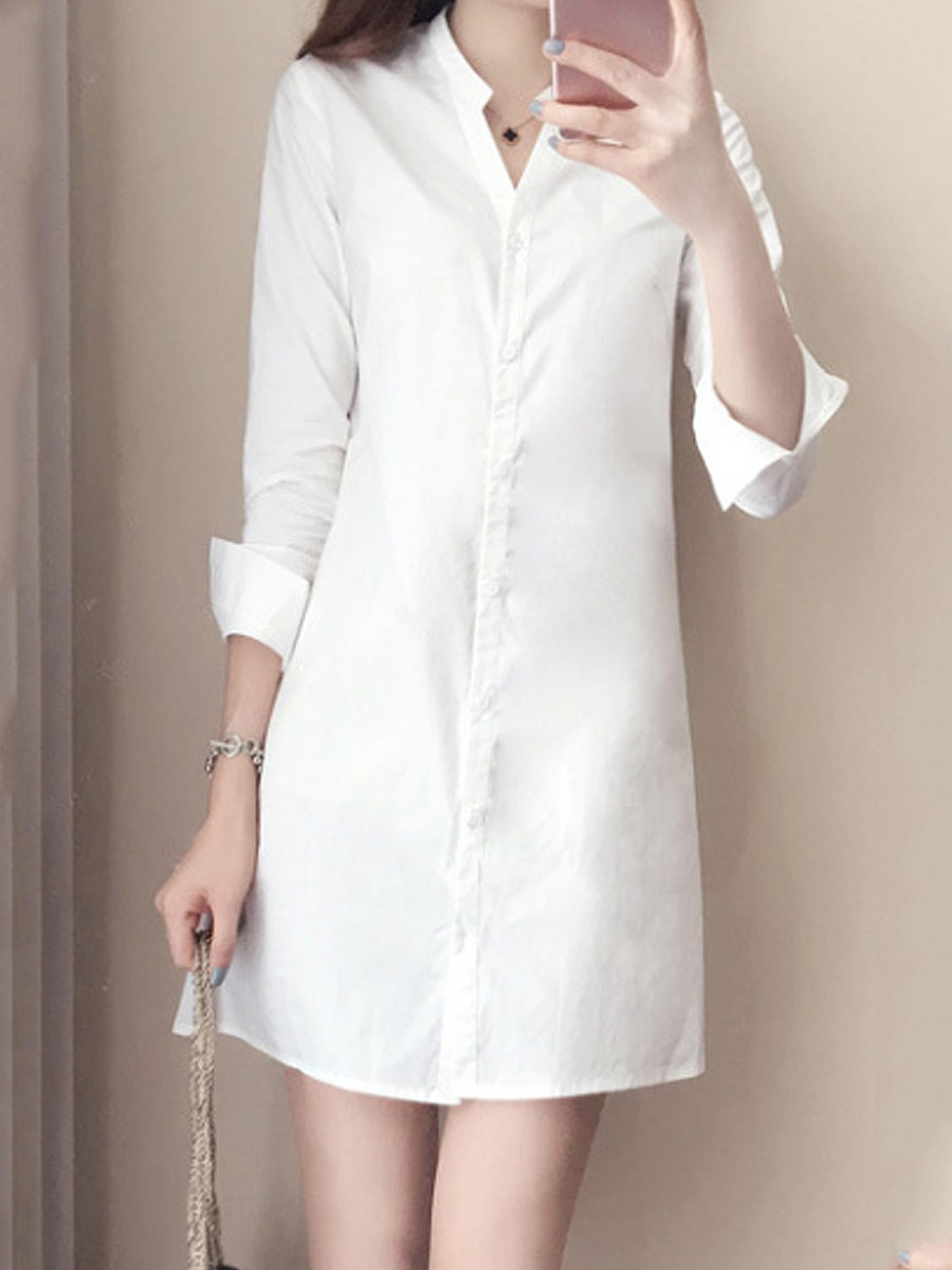 Button Down Collar  Single Breasted  Plain Shift Dress