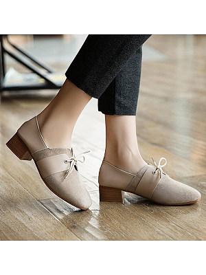 Plain Chunky Low Heeled Velvet Round Toe Date Office Low Heels