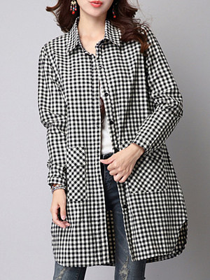 Turn Down Collar Checkered Blouses