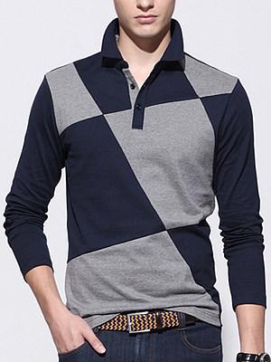 Men Office Polo Collar Color Block T-Shirt