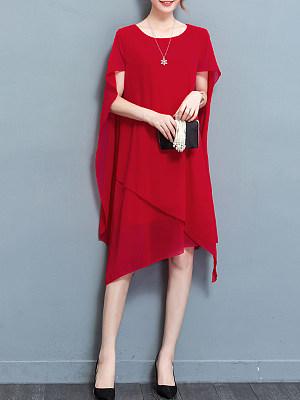 Cape Sleeve Asymmetric Hem Plain Chiffon Maxi Dress