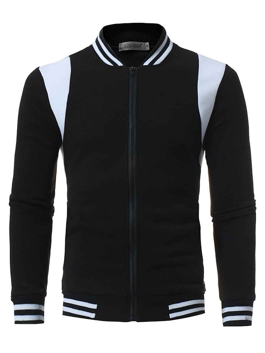 Band Collar  Color Block Striped Men Jacket