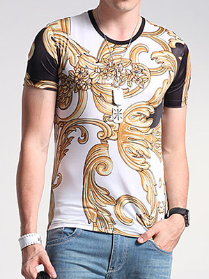 Men Round Neck Short Sleeve Printed T-Shirt