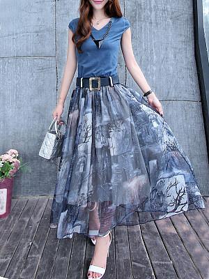 Round Neck Print Maxi Dress, 4658522