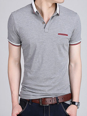 Polo Collar  Contrast Stripe Trim T-Shirt