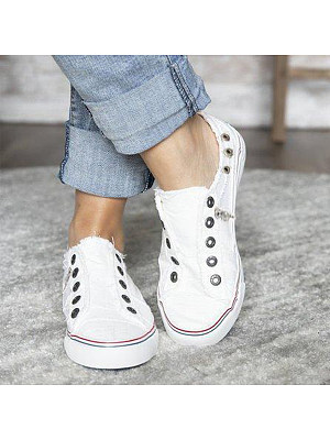 Light Wash Flat Round Toe Casual Sneakers, 6873124