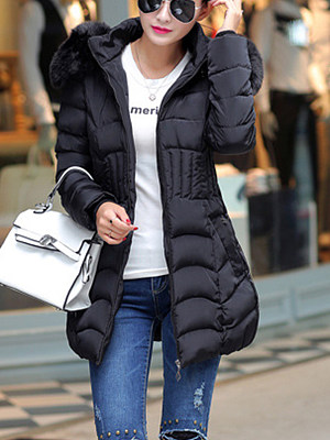 Berrylook coupon: Hooded  Slit Pocket Zips  Quilted  Plain  Long Sleeve Coats