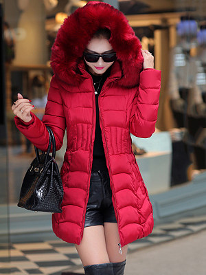 Hooded Pocket Quilted Plain Padded Coat фото