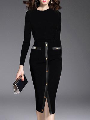 BERRYLOOK / Round Neck  Patchwork Slit Bodycon Dress