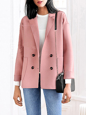 Notch Lapel Double Breasted Patch Pocket Plain Coat