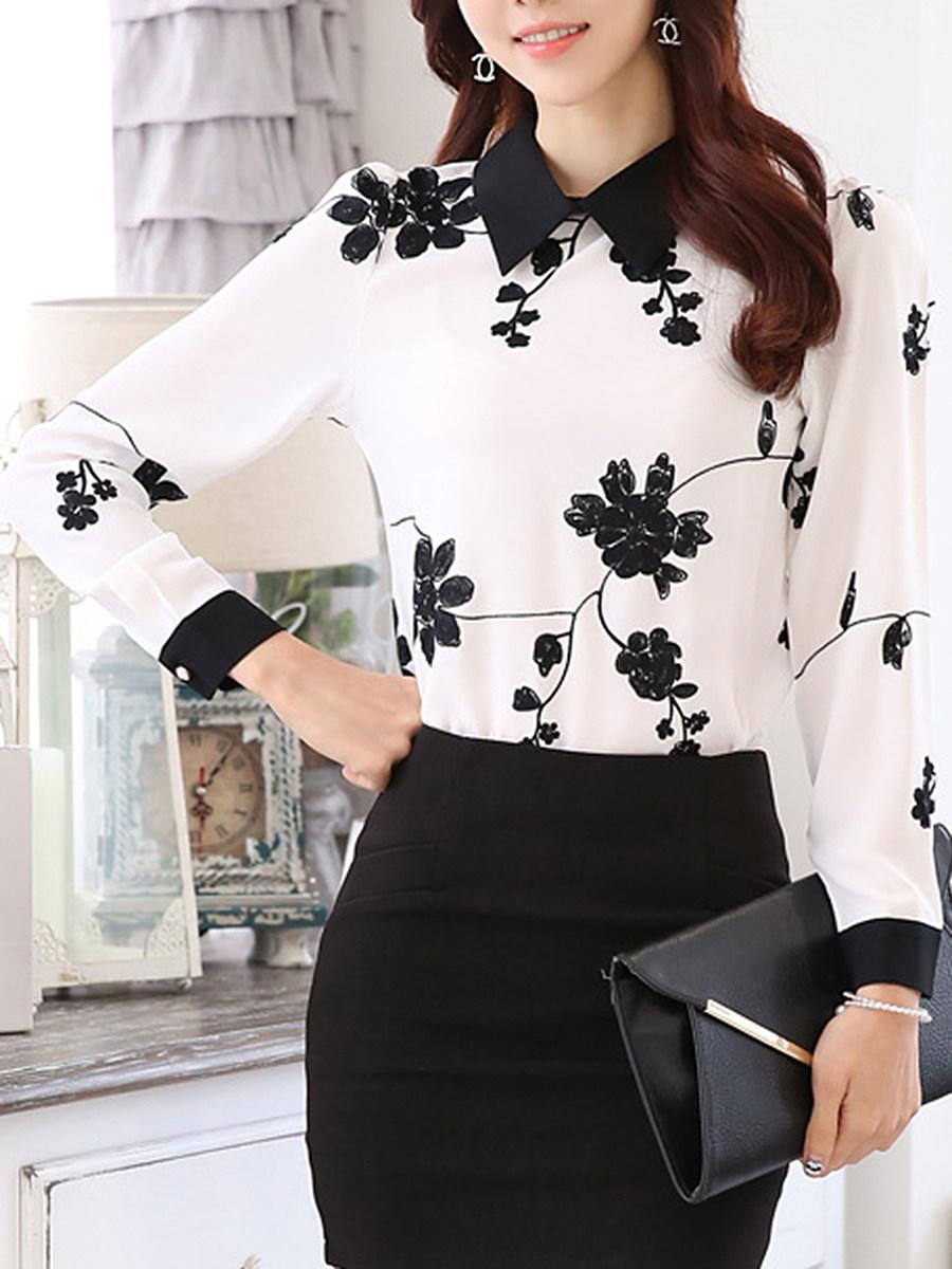 Doll Collar  Printed Long Sleeve Blouse