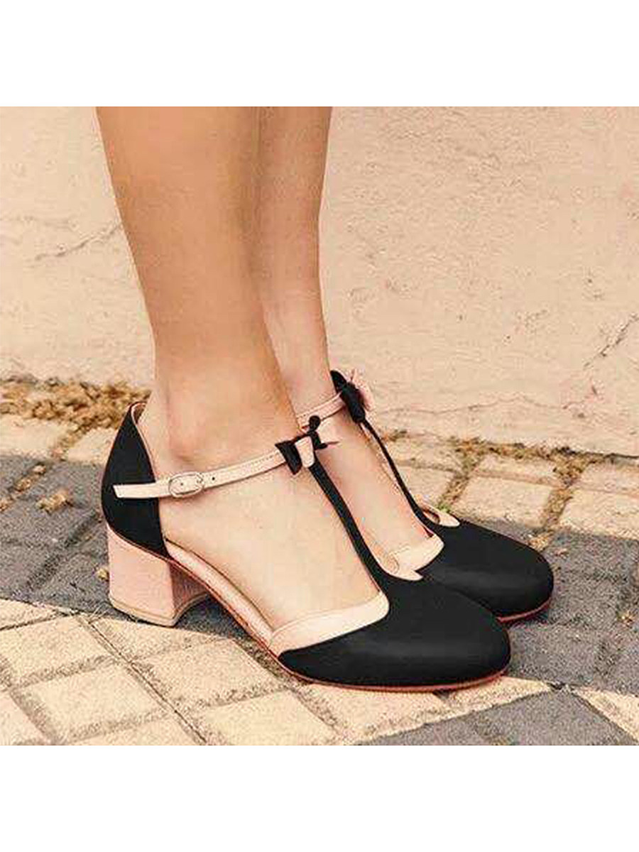 BerryLook Color Block  Chunky  Mid Heeled  Ankle Strap  Round Toe  Date Travel Pumps