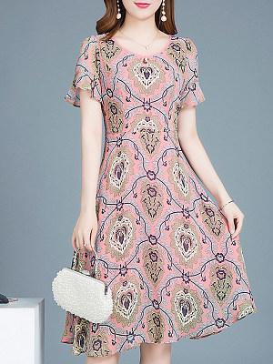 Round Neck Print Shift Dress, 4824656