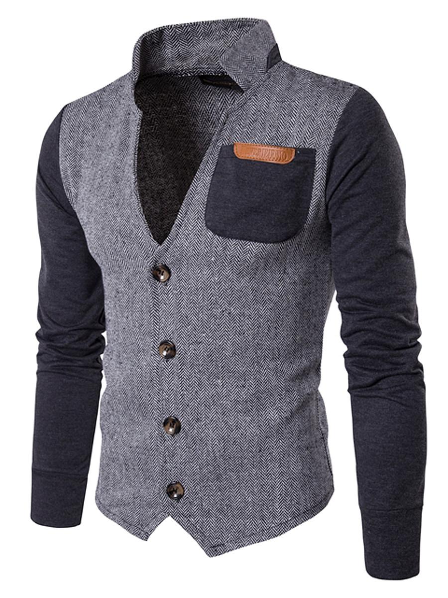 Men Band Collar Patchwork Color Block Jacket