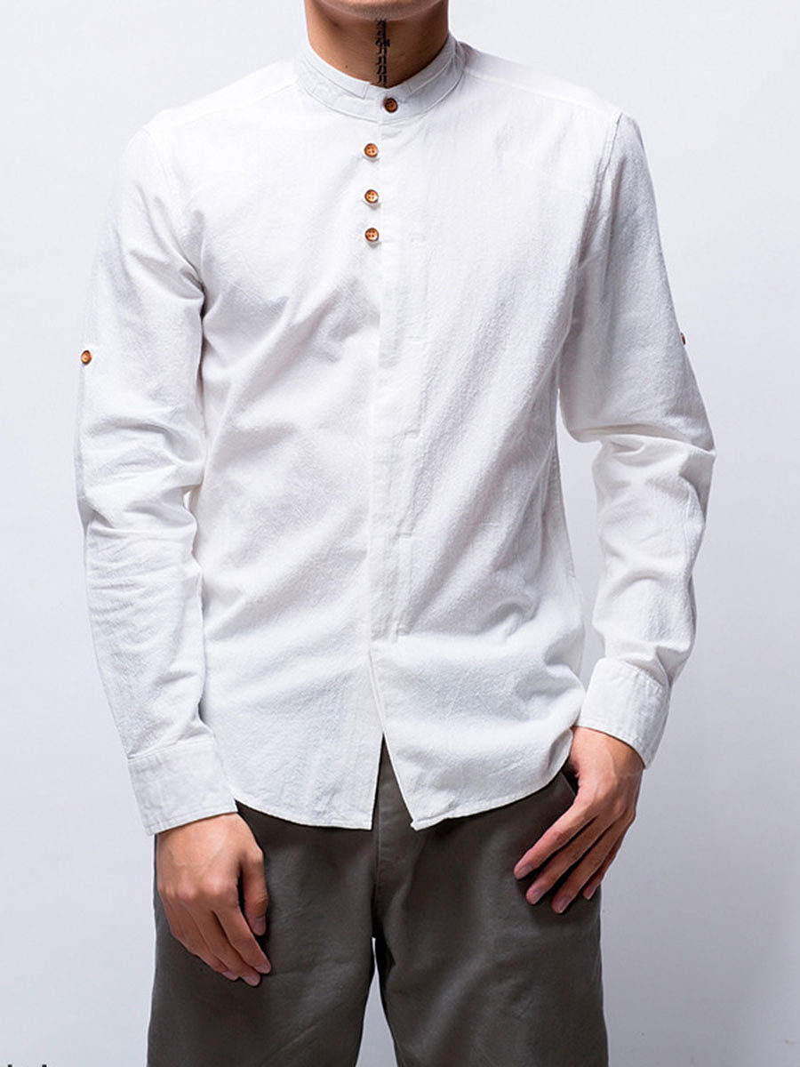 Band Collar  Plain Men Shirt