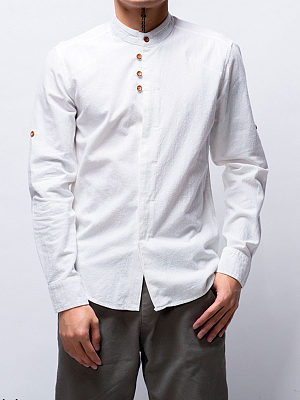 Band Collar Plain Men Shirt фото