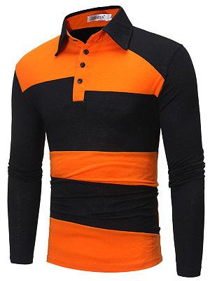 Color Block Polo Collar Men T-Shirt
