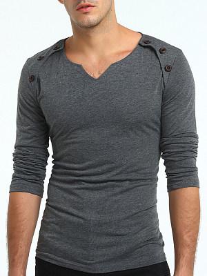 Men Split Neck Decorative Button Plain T-Shirt фото