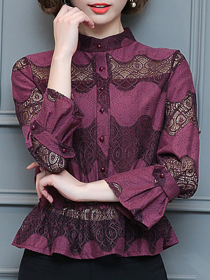 Tachibana Patchwork Elegant Lace Long Sleeve Blouse, 9707232