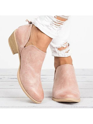 berrylook Plain Chunky Low Heeled Point Toe Casual Ankle Boots