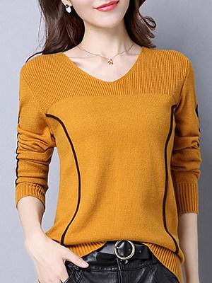 V Neck  Patchwork  Elegant  Striped  Long Sleeve Knit Pullover