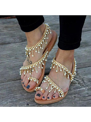 Bohemian Flat Ankle Strap Peep Toe Date Outdoor Gladiator Sandals, 6579515, BERRYLOOK  - buy with discount