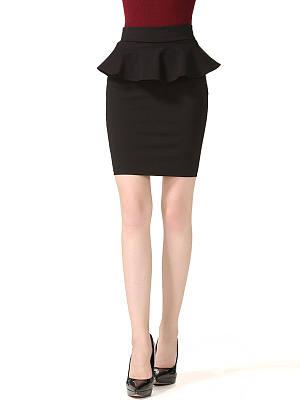 Peplum Solid Midi Skirt In Black, 3511229