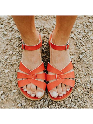 Plain Flat Peep Toe Casual Flat Sandals, 6489250