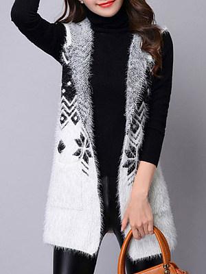 Hat Collar Elegant Bohemian Sleeveless Knit Cardigan