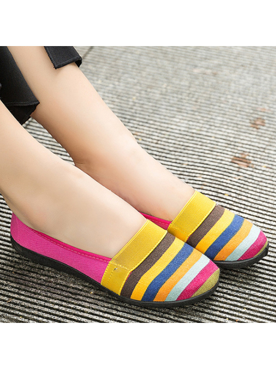 BerryLook Striped  Flat  Round Toe  Casual Comfort Flats