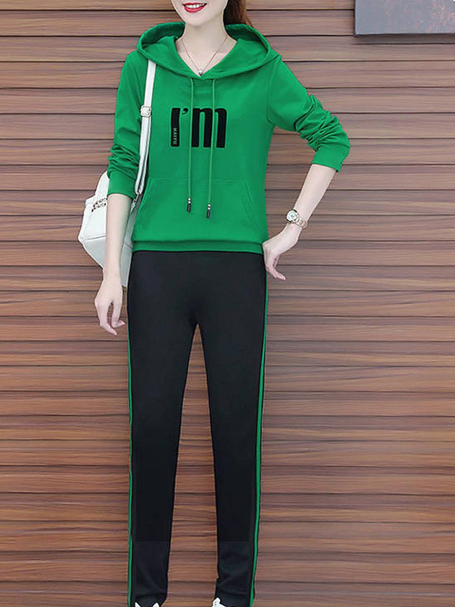 BerryLook Casual  Plain Printed  Long Sleeve Hoodie Suit