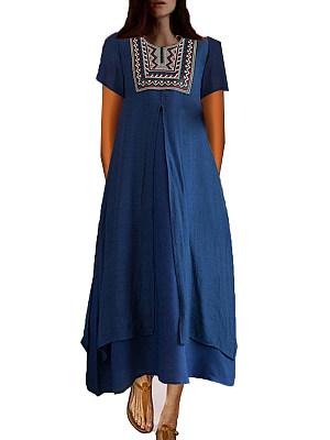 Round Neck Print Maxi Dress, 6653690