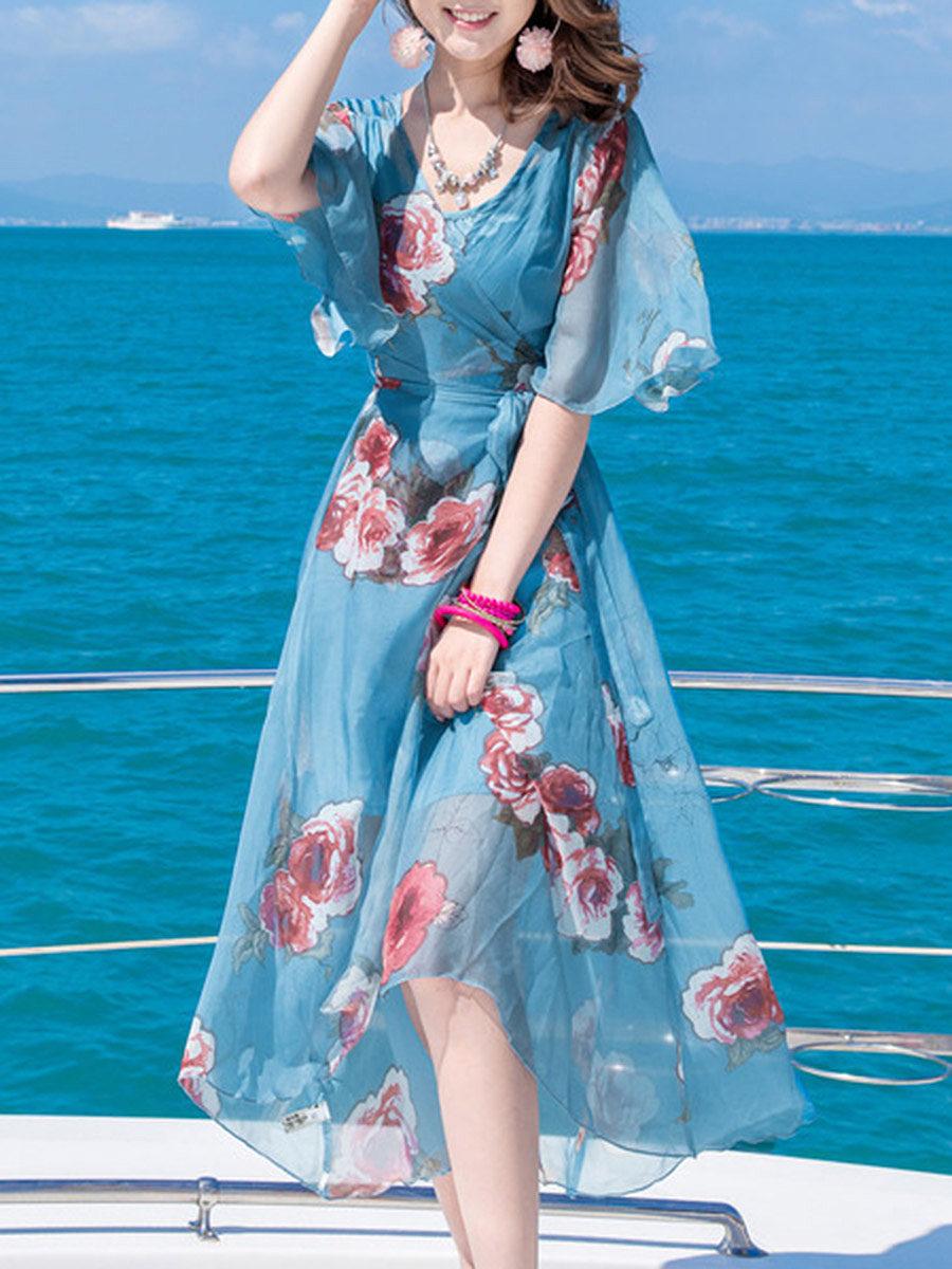 V-Neck Chiffon Slit Floral Hollow Out Printed Midi Skater Dress