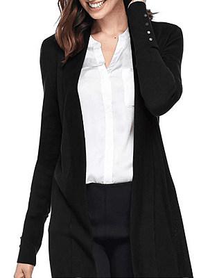 Patchwork Brief Decorative Button Plain Long Sleeve Knit Cardigan, 9070941