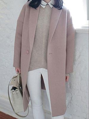 Lapel Single Button Plain Pocket Vented Woolen Coat