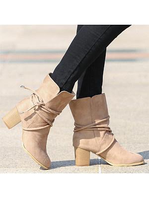 Plain Chunky High Heeled Velvet Round Toe Date Outdoor Short High Heels Boots, 5876318