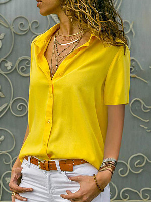 Turn Down Collar Loose Fitting Single Breasted Plain Blouses, 7043676