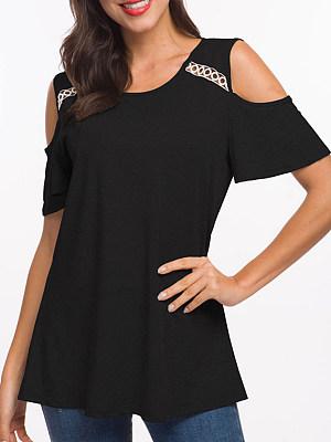 Round Neck Cutout Patchwork Lace Plain Short Sleeve T-Shirts, 6745298