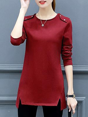 Round Neck Patchwork Medium Casual Plain Long Sleeve T-Shirt, 9522305