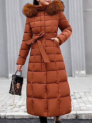 Hooded Fur Collar Belt Plain Coat фото