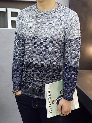 Round Neck Gradient Striped Men'S Sweater