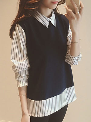 Autumn Spring Cotton Women Turn Down Collar Patchwork Fake Two-Piece Striped Long Sleeve Blouses, 4339516